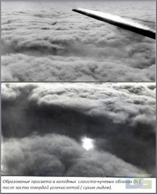 Образование просвета в облаках